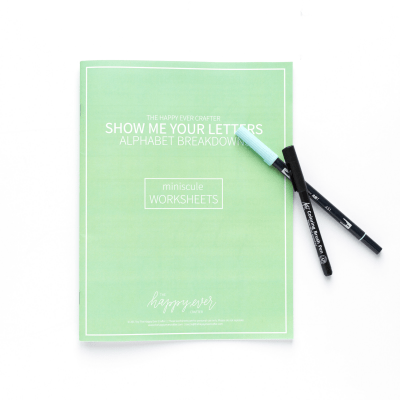 Green Minuscule (Lowercase) Letters Calligraphy Workbook The Happy Ever Crafter