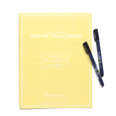 Yellow Numbers & Symbols Calligraphy Workbook