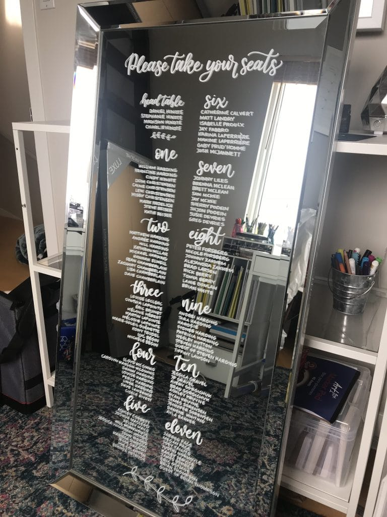 How to - Wedding Seating Chart on a Mirror